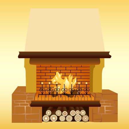 warmly: Illustration of a fireplace. For further use in your design