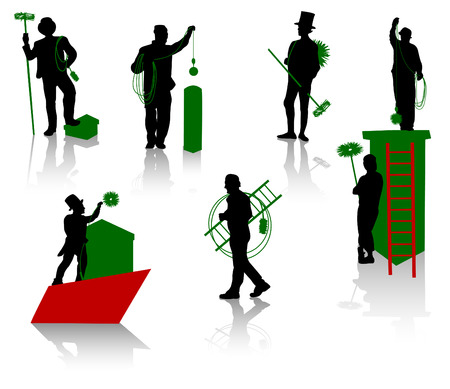 Silhouettes of the chimney sweeps Vector