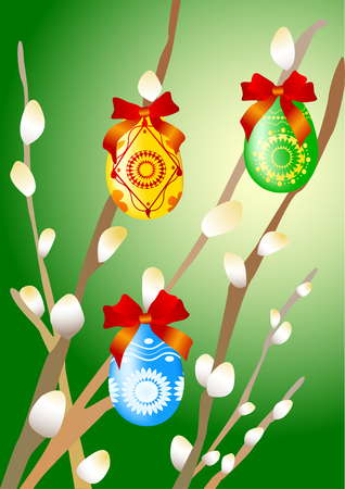 pussy willow: Colorful easter eggs on the branches of pussy willow. Illustration