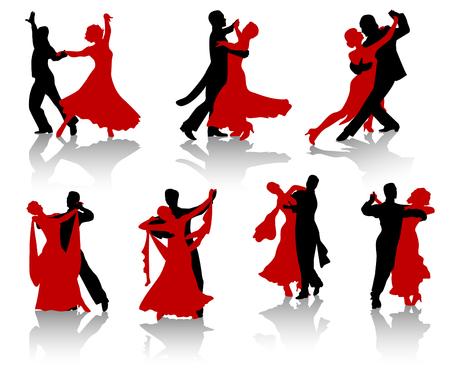 Silhouettes des couples danser des danses de bal. Une valse, tango, fox-trot.  Vecteurs