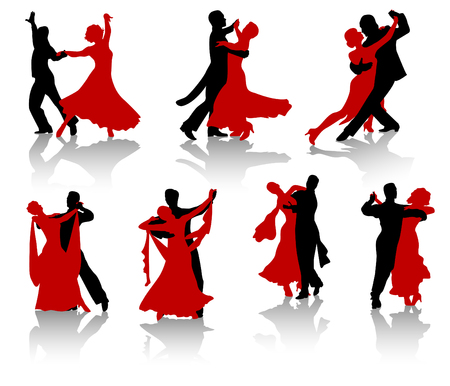 Silhouettes of the pairs dancing ballroom dances. A waltz, a tango, a foxtrot. Illustration