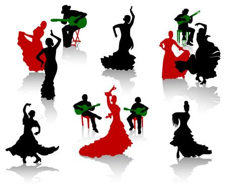 Silhouettes of flamenco. Dancers and guitarists.