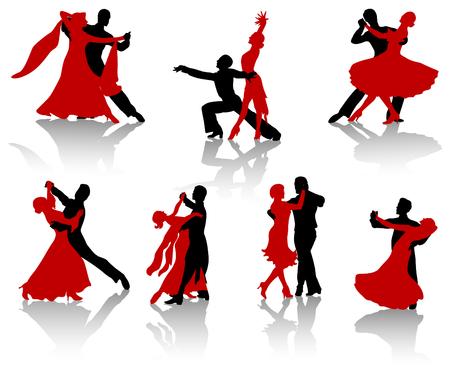 tango: Silhouettes of the pairs dancing ballroom dances. A waltz, a tango, a foxtrot. Illustration