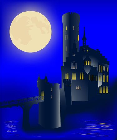 The ancient castle under the full moon. photo