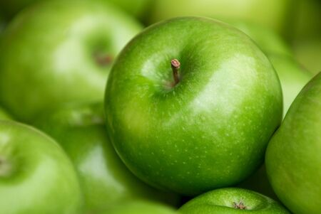 pink and green: Autumn Harvest. Green delicious apples Stock Photo