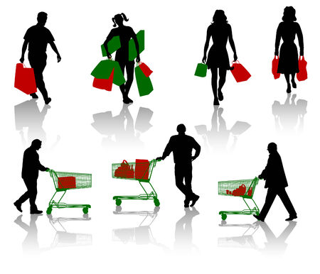 Silhouettes of people with purchases. Vector