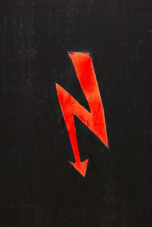 symbol: Electric shock symbol on vintage peeled wall.