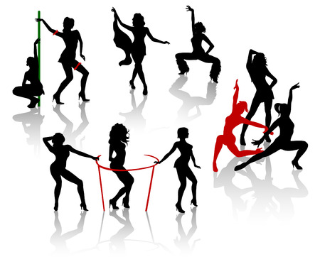 Go-go girls.Silhouettes of females dancing  Vector