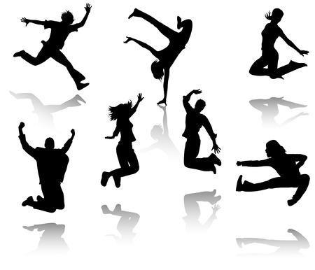 salto largo: Siluetas de siete personas saltando