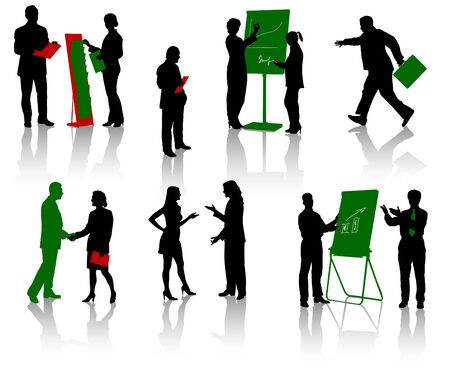 Silhouettes of businesspeople. Men and women. Vector. Isolated. Vector