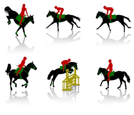 caballo saltando: Siluetas de ecuestres de los caballos durante las competiciones Vectores