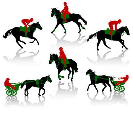 riding helmet: Siluetas de equestrians a los caballos durante las competiciones  Vectores