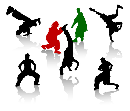 handstand: Silhouettes of streetdancers teens. Hiphop and breakdancing. Illustration