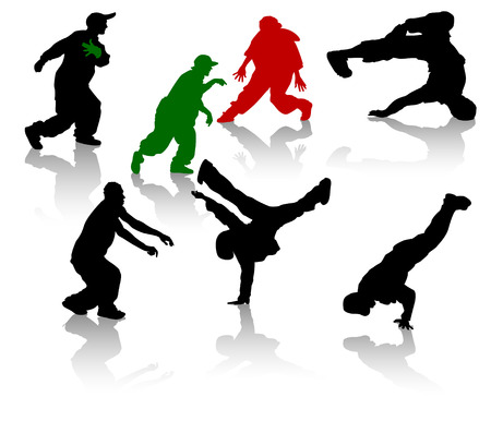 hiphop: Silhouettes of streetdancers teens. Hiphop and breakdancing. Illustration
