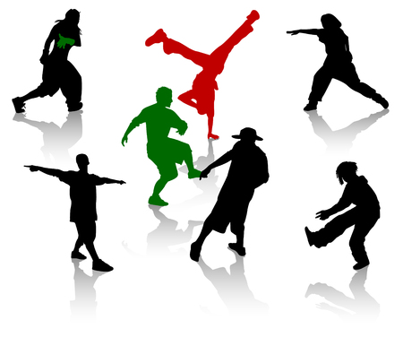 street dance: Silhouettes of streetdancers teens. Hiphop and breakdancing. Illustration