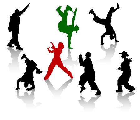 Siluetas de streetdancers adolescentes. Hiphop y el breakdance.