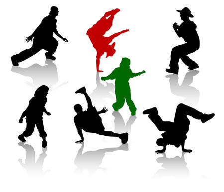 Silhouettes of streetdancers teens. Hiphop and breakdancing. Vector