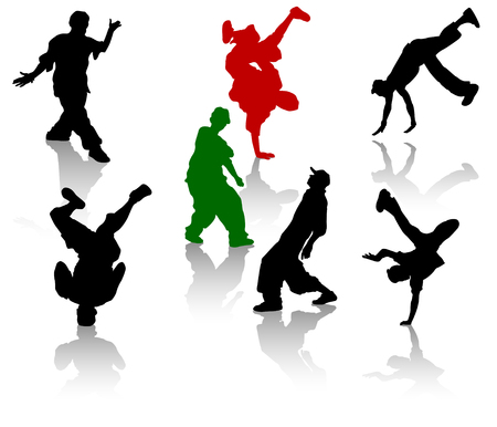 break dancing: Silhouettes of streetdancers teens. Hiphop and breakdancing. Illustration
