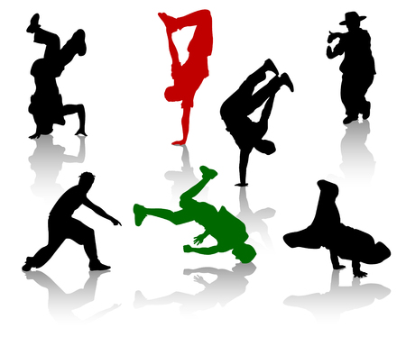 subculture: Silhouettes of streetdancers teens. Hiphop and breakdancing. Illustration