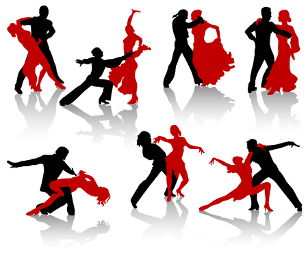 Silhouettes of the pairs dancing ballroom dances. A waltz, a tango, a foxtrot. Stock Vector - 3378472