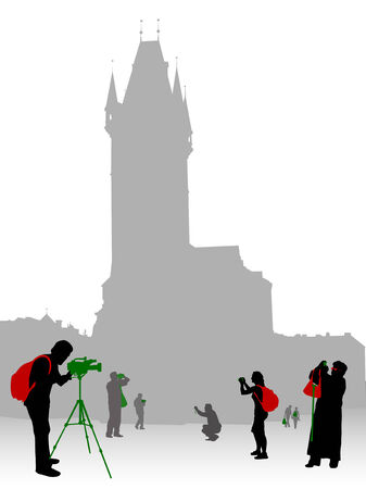 Silhouettes of tourists and photographers on Oldtown square in Prague Vector