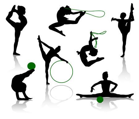 sports form: Sagome di ginnasti con soggetti vari sport. Una palla, una corda per saltare, uno Hoop