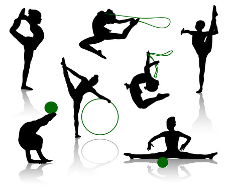 Silhouettes of gymnasts with various sports subjects. A ball, a skipping rope, a hoop