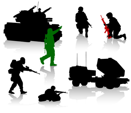 armed: Military silhouette collection. Soldier,  tanks and trucks