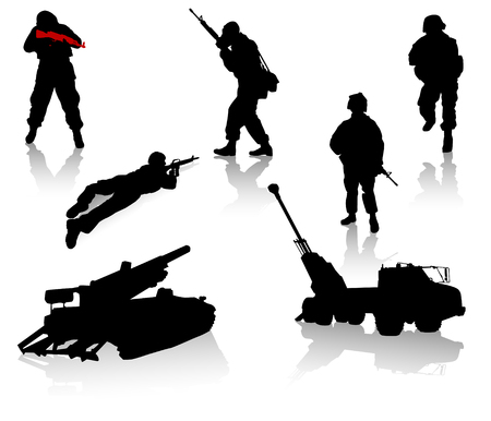 Military silhouette collection. Soldier,  tanks and trucks Vector
