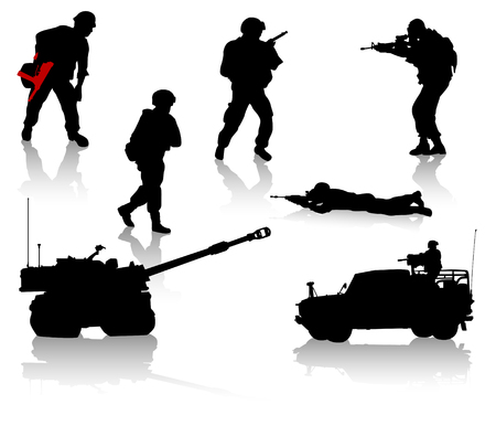 military silhouettes: Military silhouette collection. Soldier,  tanks and trucks