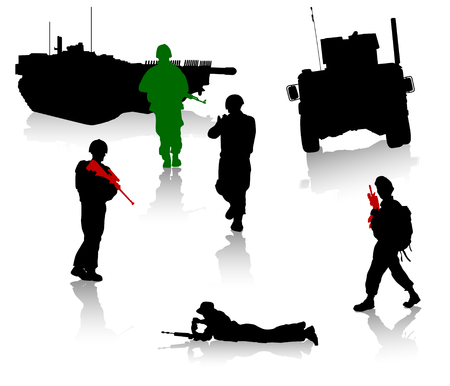 battle: Military silhouette collection. Soldier,  tanks and trucks