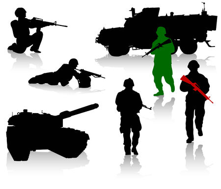 Military silhouette collection. Soldier,  tanks and trucks Stock Vector - 3543124