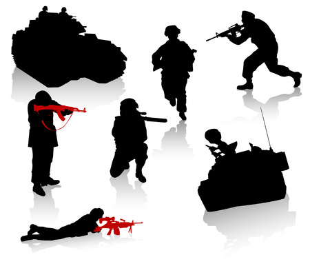 Military silhouette collection. Soldier,  tanks and trucks Stock Vector - 3543122