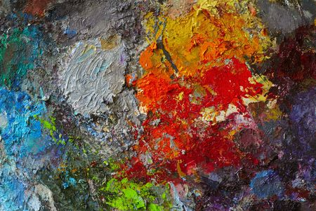 oil on canvas: Artists oil paints multi coloured close up semi abstract