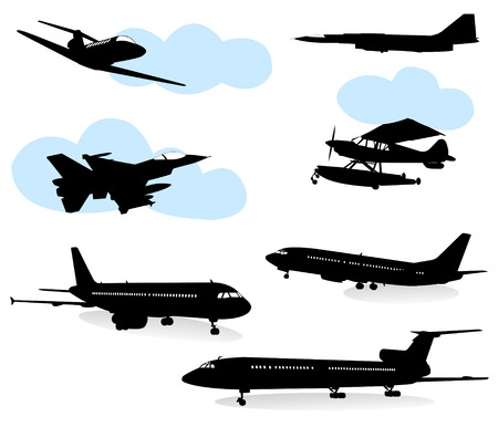 transportation silhouette: Collection of silhouettes of various planes