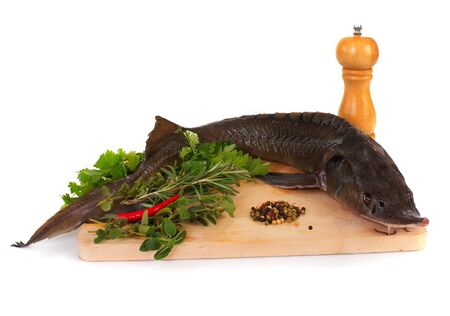 Fresh sturgeon on a wooden board with spices photo