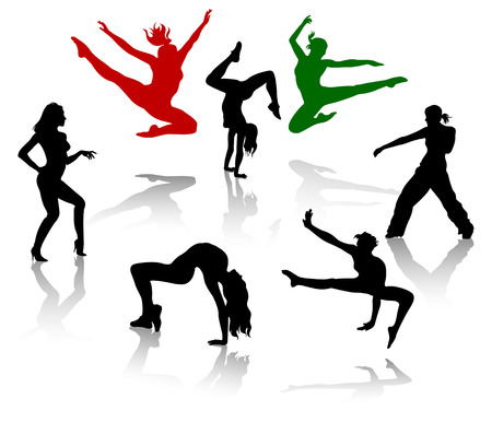 Silhouettes of the modern dancer. Vector