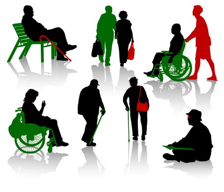 Silhouet van oude mensen en gehandicapten