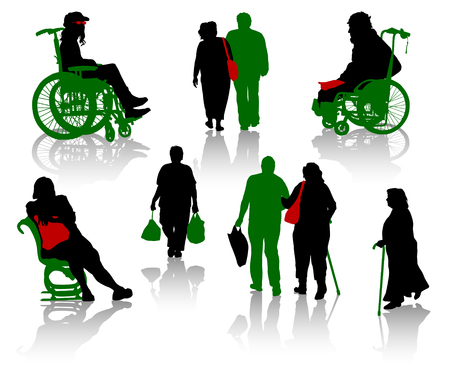 senior adult: Silhouette of old people and disabled persons Illustration