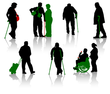 disable: Silhouette of old people and disabled persons Illustration