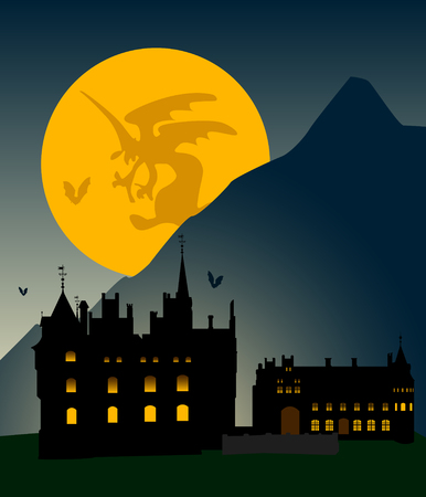 Castle silhouette in mountains against the full moon. Halloween. Vector