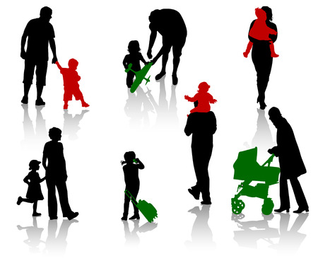 The isolated silhouettes of parents with children. Stock Vector - 3664894