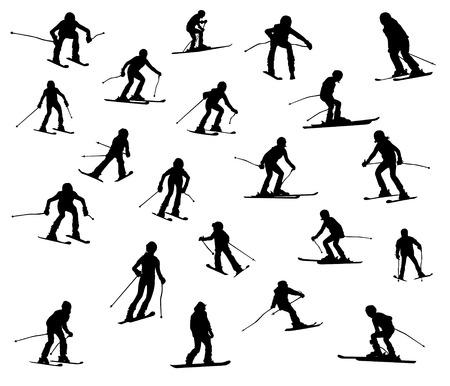 스키: Twenty one silhouette of skiers. Downhill racing, a snowboard, children and teenagers in movement.