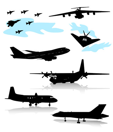 the air attack: Collection of silhouettes of various planes. Part two. Illustration