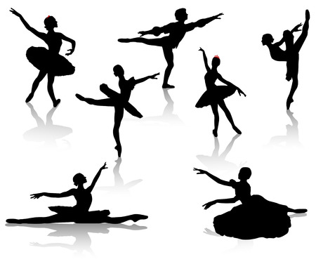 classical theater: Black silhouettes of ballerinas and dancer in movement on a white background Illustration