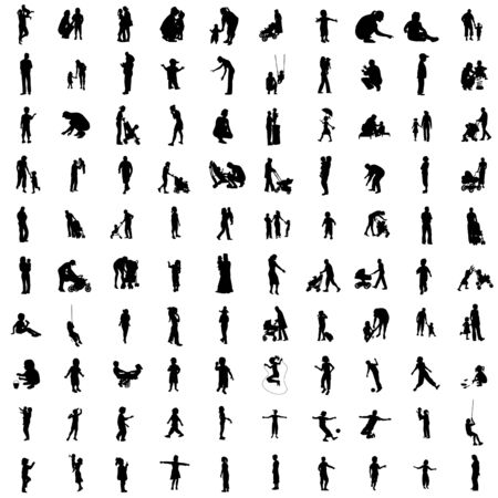 walking on hands: One hundred isolated silhouettes of parents and children.