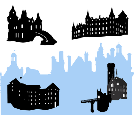 Five castles and fortress silhouette  Vector