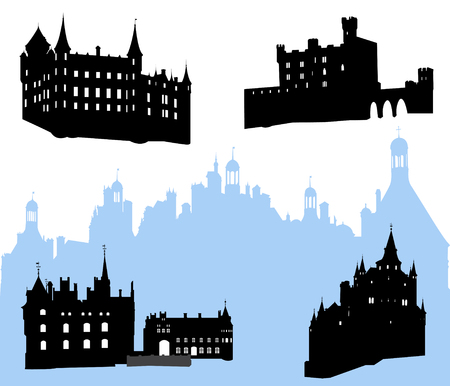 Five castles and fortress silhouette  Stock Vector - 3729830