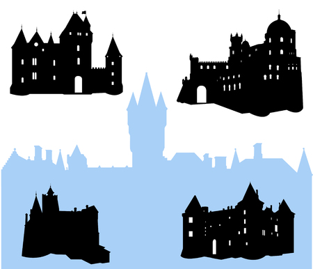 Five castles and fortress silhouette  Stock Vector - 3729825