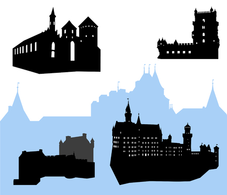 Five castles and fortress silhouette Stock Vector - 3729826